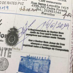 カミーノ「ポルトガル人の道」クレデンシャルにバルセロスのスタンプ